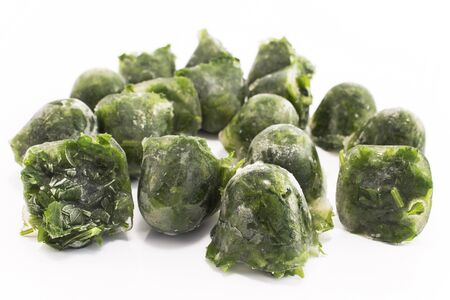 Parsley frozen in ice cubes.