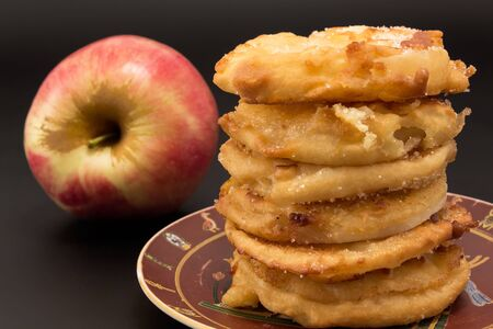 arranged: Fried apples arranged on a plate. Stock Photo