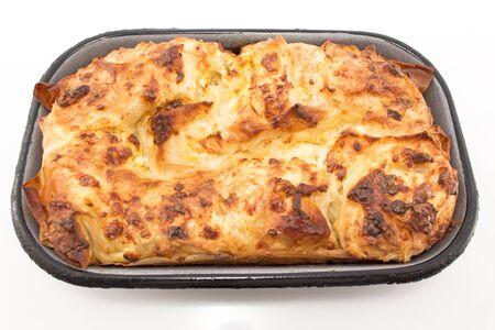 serbian: Traditional Serbian cheese pie gibanica.