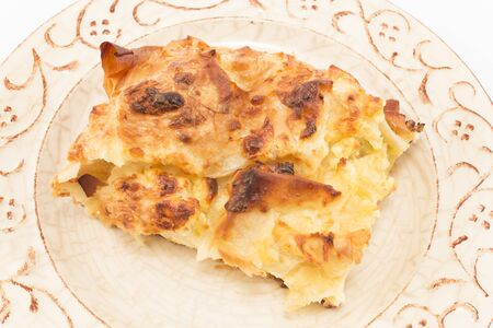 serbian: Traditional Serbian cheese pie gibanica.