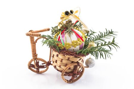 tricycle: Christmas decoration with a tricycle. Stock Photo