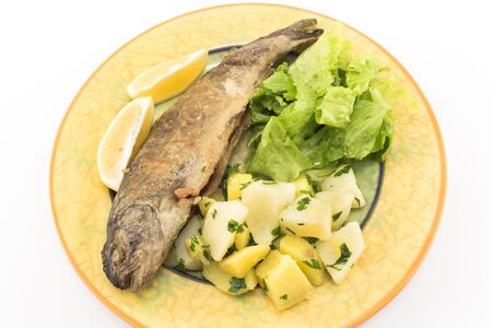 rainbow trout: Fried rainbow trout with potatoes and green salad.