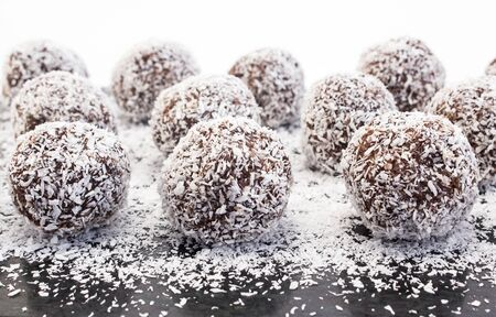 Balls of coconut and chocolate. Stock Photo