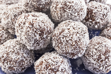 coconuts: Balls of coconut and chocolate. Stock Photo