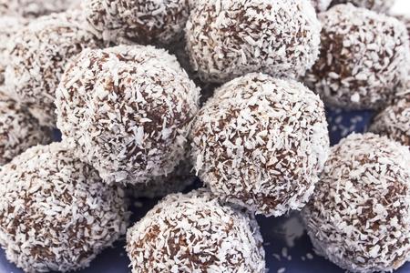Balls of coconut and chocolate. Standard-Bild