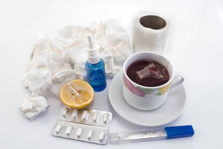 sniffle: Products against colds and flu. Stock Photo