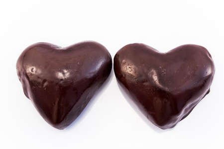 amorousness: Heart gingerbread cookies glazed chocolate.