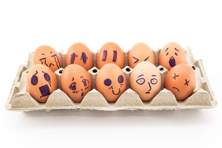 Bad mood facial drawings on eggs.
