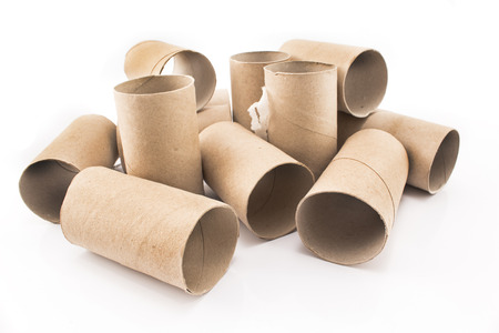 brown white: Empty toilet paper rolls isolated on white. Stock Photo