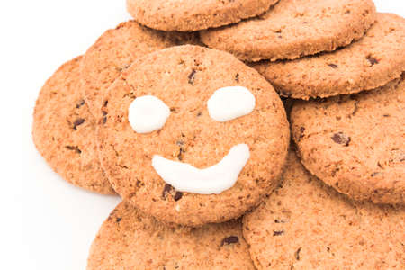 breakfast smiley face: Smiley on whole wheat biscuits. Stock Photo