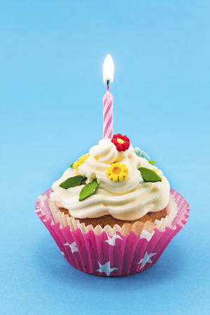 favorite colour: Birthday cupcake on blue background.