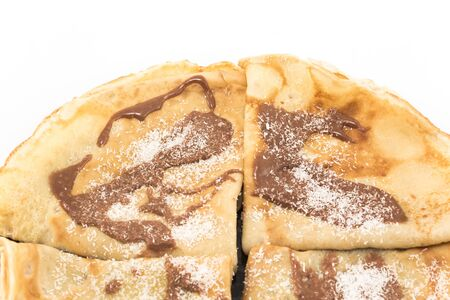 Crepes with chocolate and coconut.