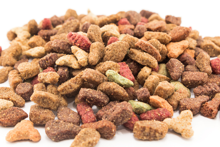 granules: Cat Food, granules, on a white background.