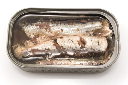 tinned: Sardines in oil Canned.