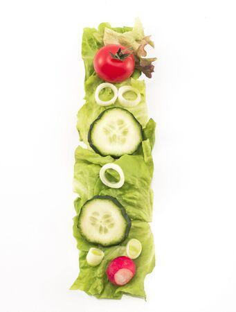 letter i: Letter I made of salad.
