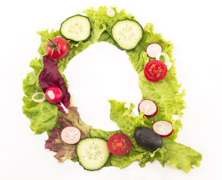 letter q: Letter Q made of salad. Stock Photo