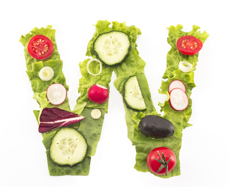 w c: Letter W made of salad.
