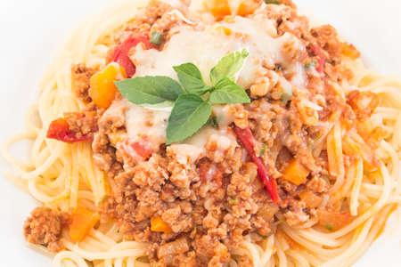 spaghetti bolognese: Spaghetti Bolognese Closeup, Italian pasta.