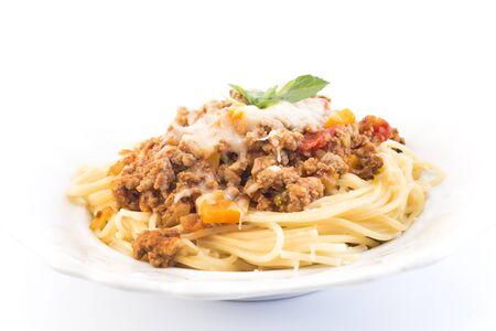 spaghetti bolognese: Spaghetti Bolognese on White Background.