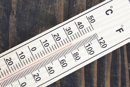 hotter: Mercury Thermometer with Celsius and Fahrenheit Degrees.