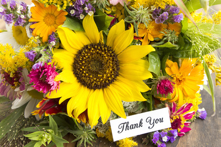 Thank You Card with Bouquet of Summer Flowers. Stock Photo