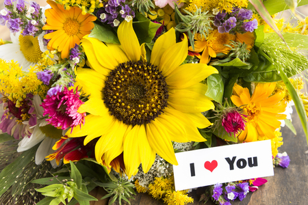 short phrase: I Love You Card with Bouquet of Summer Flowers.