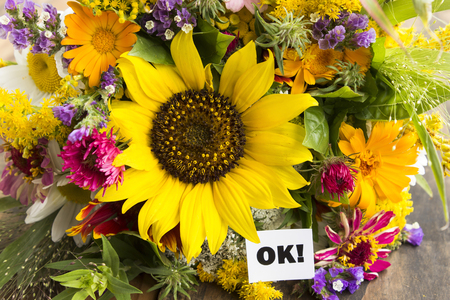 short phrase: OK Card with Bouquet of Summer Flowers.