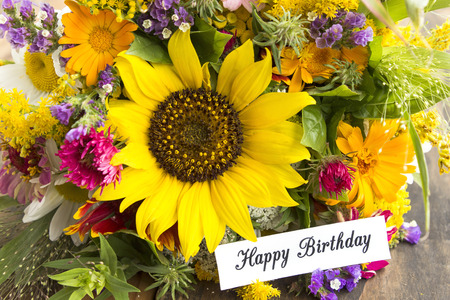 short phrase: Happy Birthday Card with Bouquet of Summer Flowers.
