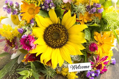 short phrase: Welcome Card with Bouquet of Summer Flowers.
