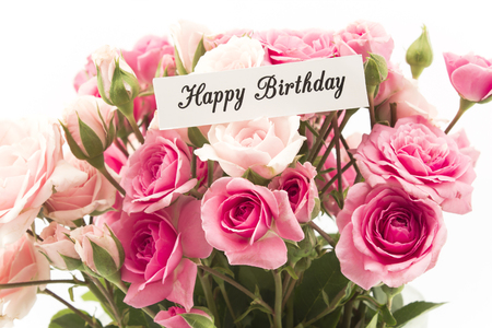 short phrase: Happy Birthday Card with Bouquet of Pink Roses.