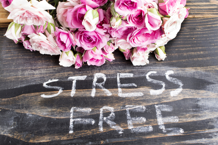 short phrase: Words Stress Free with Pink Roses on a Rustic Wooden Background.