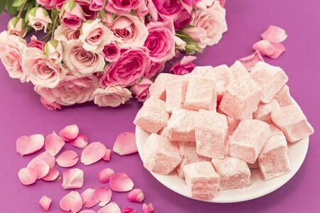 delight: Delicious Turkish Delight of Roses. Stock Photo