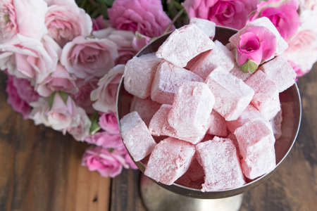 locum: Delicious Turkish Delight of Roses in Silver Champagne Glass.