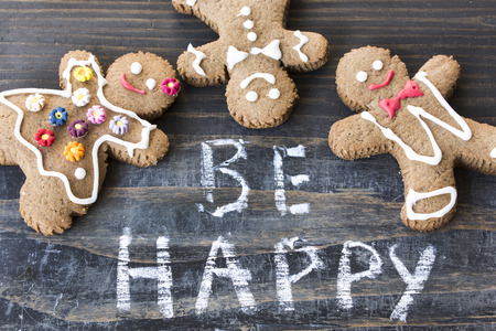 short phrase: Words Be Happy with Gingerbread  Cookies.