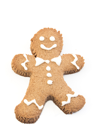 recipe decorated: Gingerbread Cookie  Man Isolated on White. Stock Photo