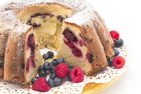 pound cake: Pound Cake with Berries Closeup.
