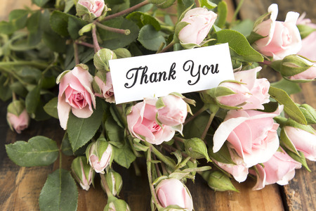short phrase: Thank You Card with Bouquet of Pink Roses. Stock Photo