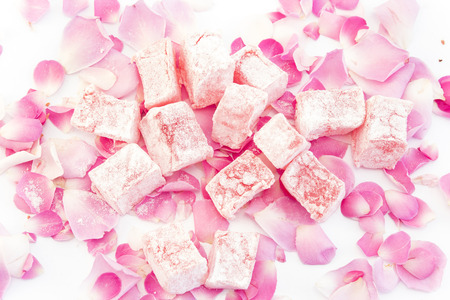 delight: Turkish Delight of Roses with Rose Petals. Stock Photo