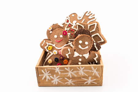 gingerbread cookies: Gingerbread  Cookies in a Wooden Box.