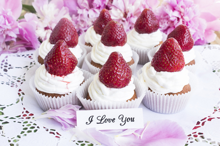short phrase: I Love You Card with Strawberries Cupcakes  on Paper Lace.