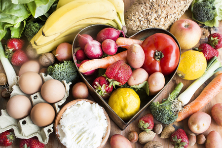 b: Various Healthy Food, Fruits and Vegetables, Cheese and Eggs.