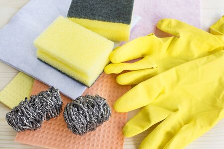 scour: Cleaning Products , Sponges, Cloths, Gloves.