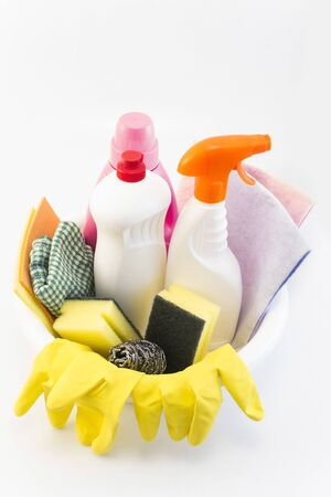 Cleaning Products Isolated on White. Stock Photo