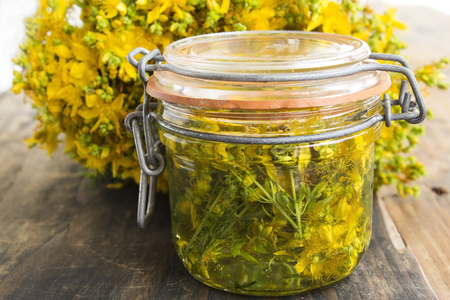 St. Johns Wort Oil with St. Johns Wort Flowers. Stock Photo