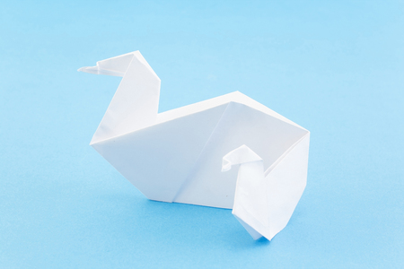 Origami Swans Mother Swan And Cygnet On Blue Background Stock