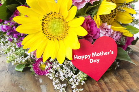 Happy Mothers Day,  Greeting Card,  with Bouquet of Flowers.