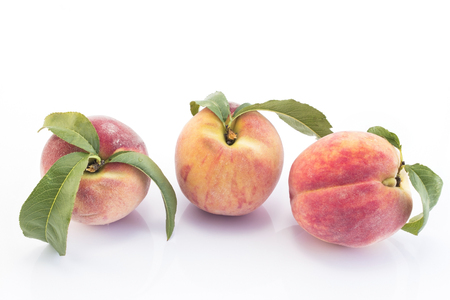 Three Peaches  Isolated on White Background. Standard-Bild - 106147773