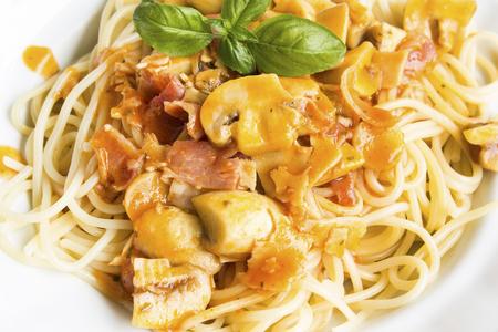 Spaghetti Milanese on a Plate. Standard-Bild - 104589007