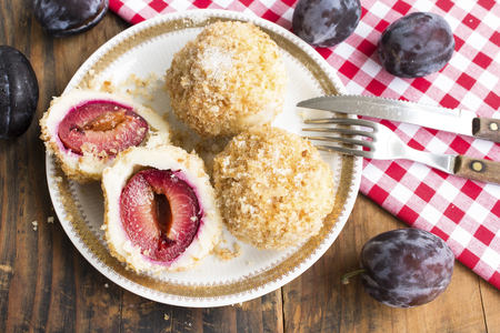 Plum Dumplings , Delicious and Juicy. Standard-Bild - 106148881