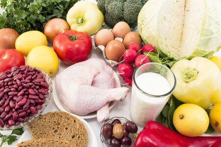 Balanced Healthy Food Recommended for Diabetes and Hypertension.